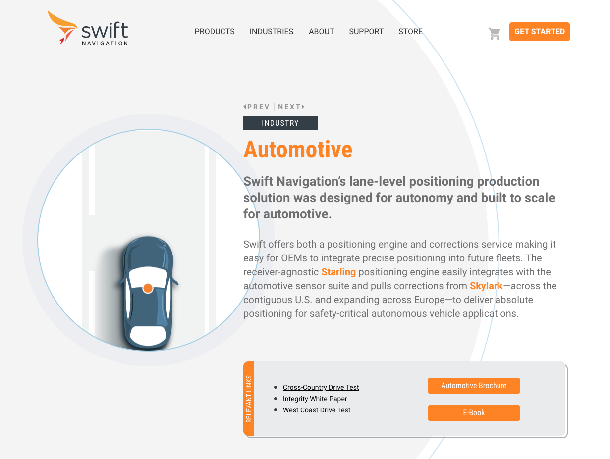 Swift Navigation example of a product page